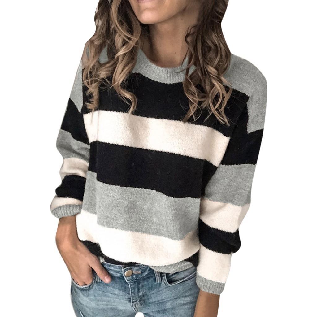 2019 femmes d'hiver à manches longues col ras du cou en tricot Pull Vintage rayé Automne Casual Femmes Pulls Pulls Tops