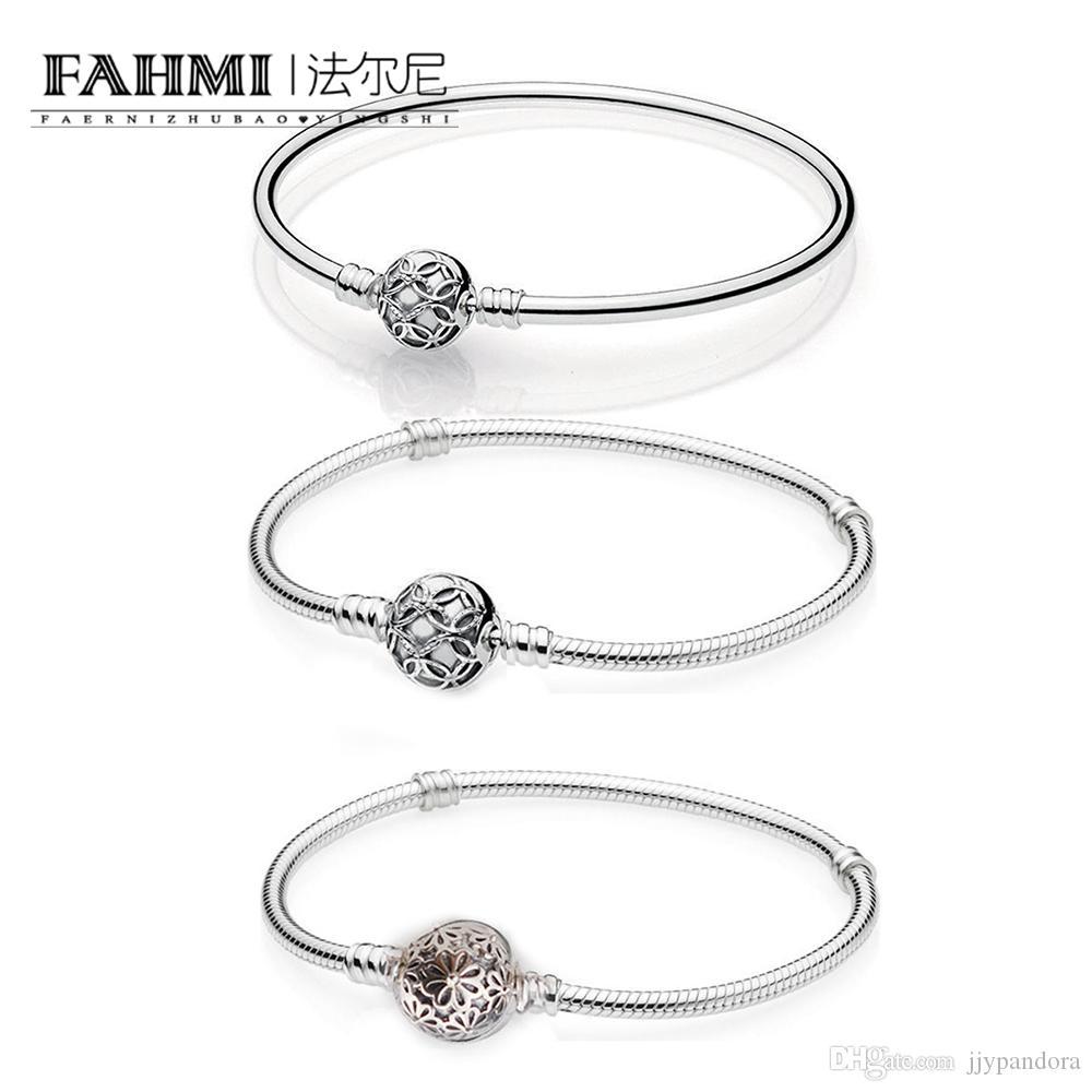 Fahmi 100% 925 Sterlingsilber-Charme Blumen Feier Grund Armband Armband Geeignet für wulstige Charme-Damen Accessoires Großhandel