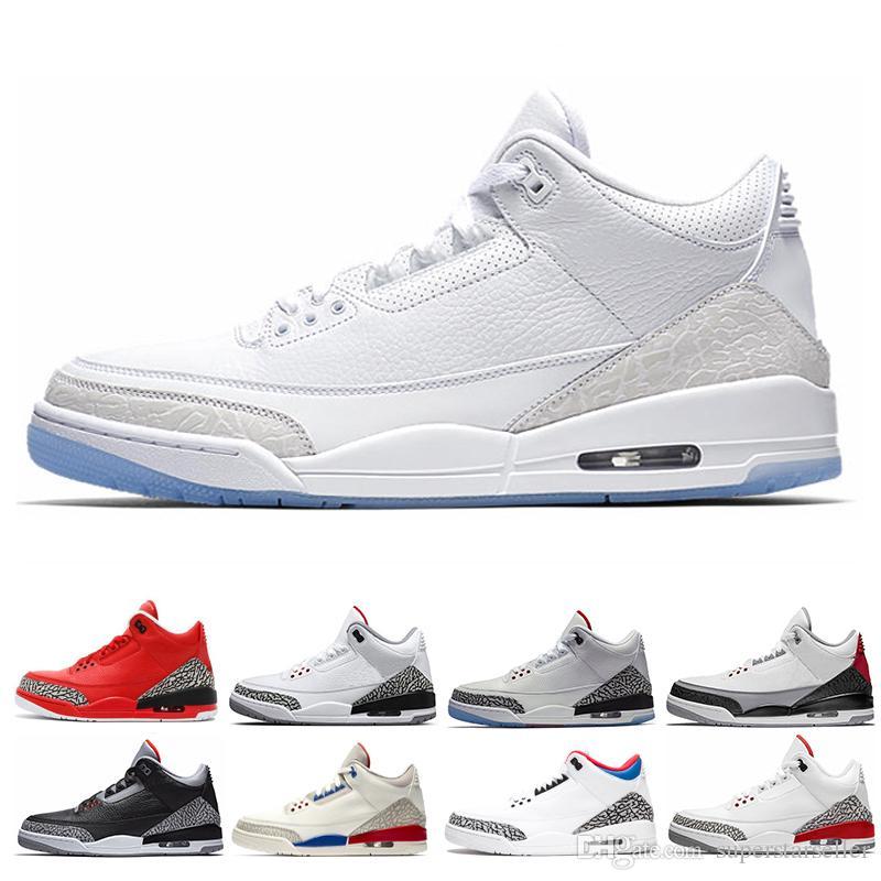 Новый 3s чистый белый 3 мужская баскетбольная обувь Tinker Катрина JTH свободный бросок линия белый черный цемент мужчины спорт дизайнер кроссовки размер 13
