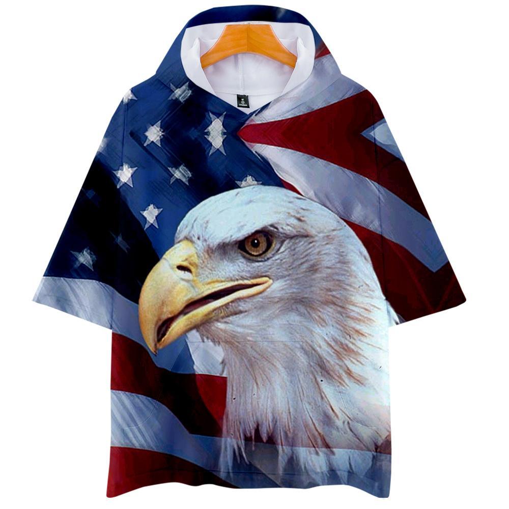 Independence Day 3D Stampa Maglia con cappuccio T Uomini Donne Streetwear / 2019 Harajuku hoodie della maglietta a maniche corte di vendita calda vestiti T200616