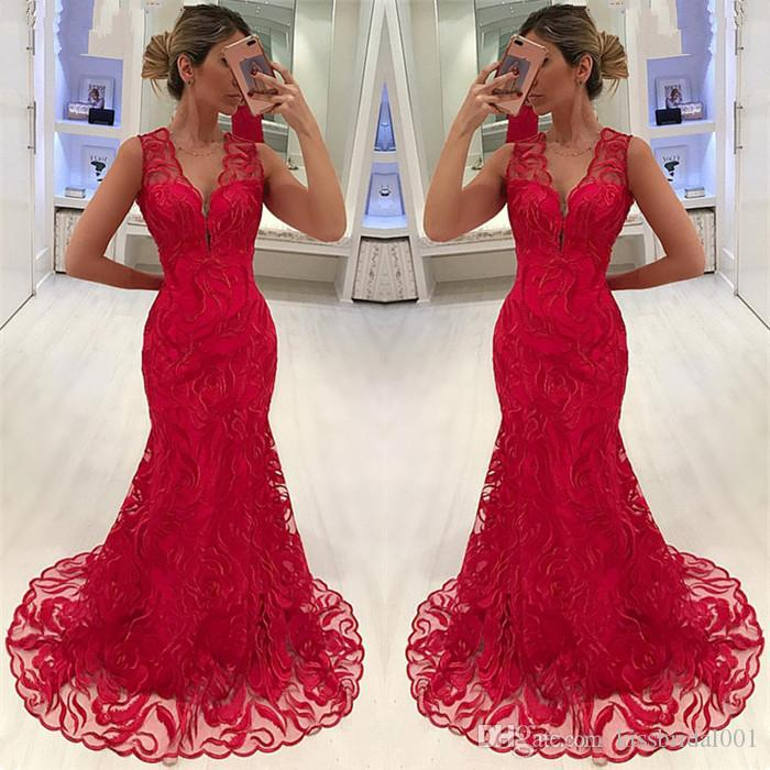 Black Girls Prom Dresses 2019 Mermaid V-Neck Lace Formal Evening Gowns Cocktail Party Ball Quinceanera Sweet 16 Dress Celebrity Gown