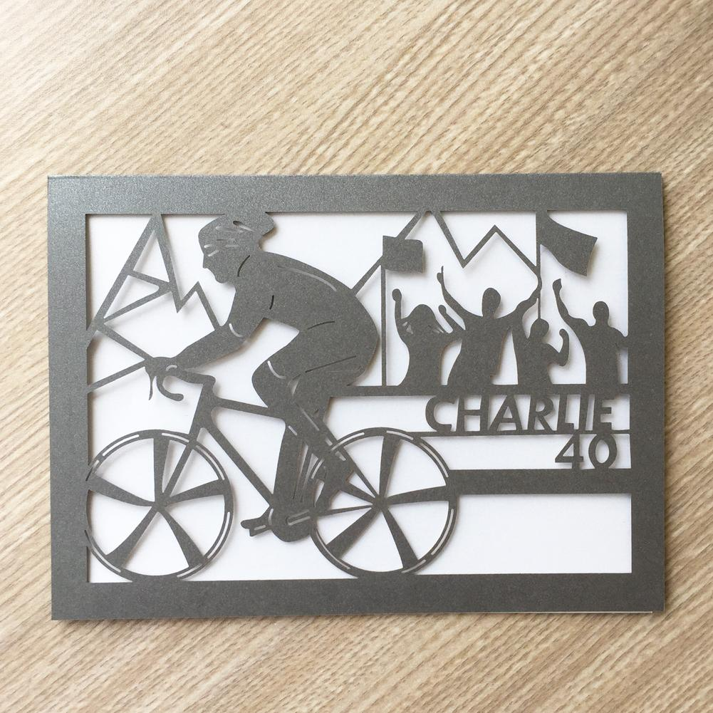 100PCS /lot Simple Custom Digital Envelope Wedding Invitation Cards Decoration With On A Mountain Bike Birthday Party Blessing Cards