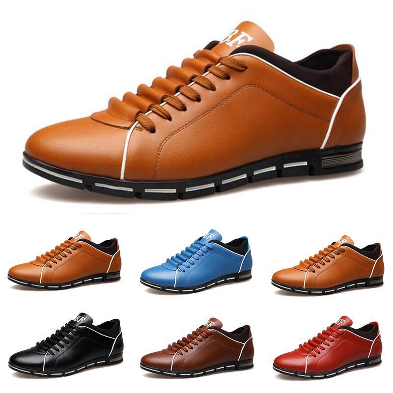 uomini caldi casuali scarpe di cuoio nero castagno rosso chiaro moda uomo Scarpe da tennis blu ballerina dimensione esterna piedi 40-45 # 21