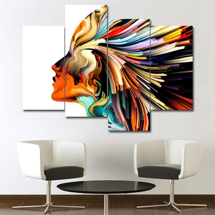 Oturma odası, yatak odası, yemek odası, ev dekorasyonu, soyut yüz, yaratıcı tasarım, dörtlü tuval, boya çekirdek, sanat fresk.