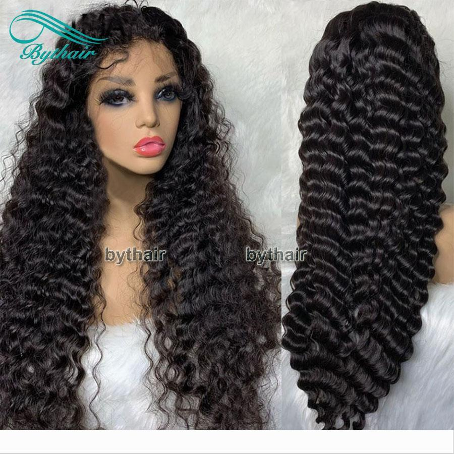 Siyah Kadınlar Bythair için Kıvırcık Dantel Ön İnsan Saç Peruk Öncesi Mızraplı Satine Virgin Brezilyalı Saç Tutkalsız Tam Dantel Peruk ile Bebek Saç
