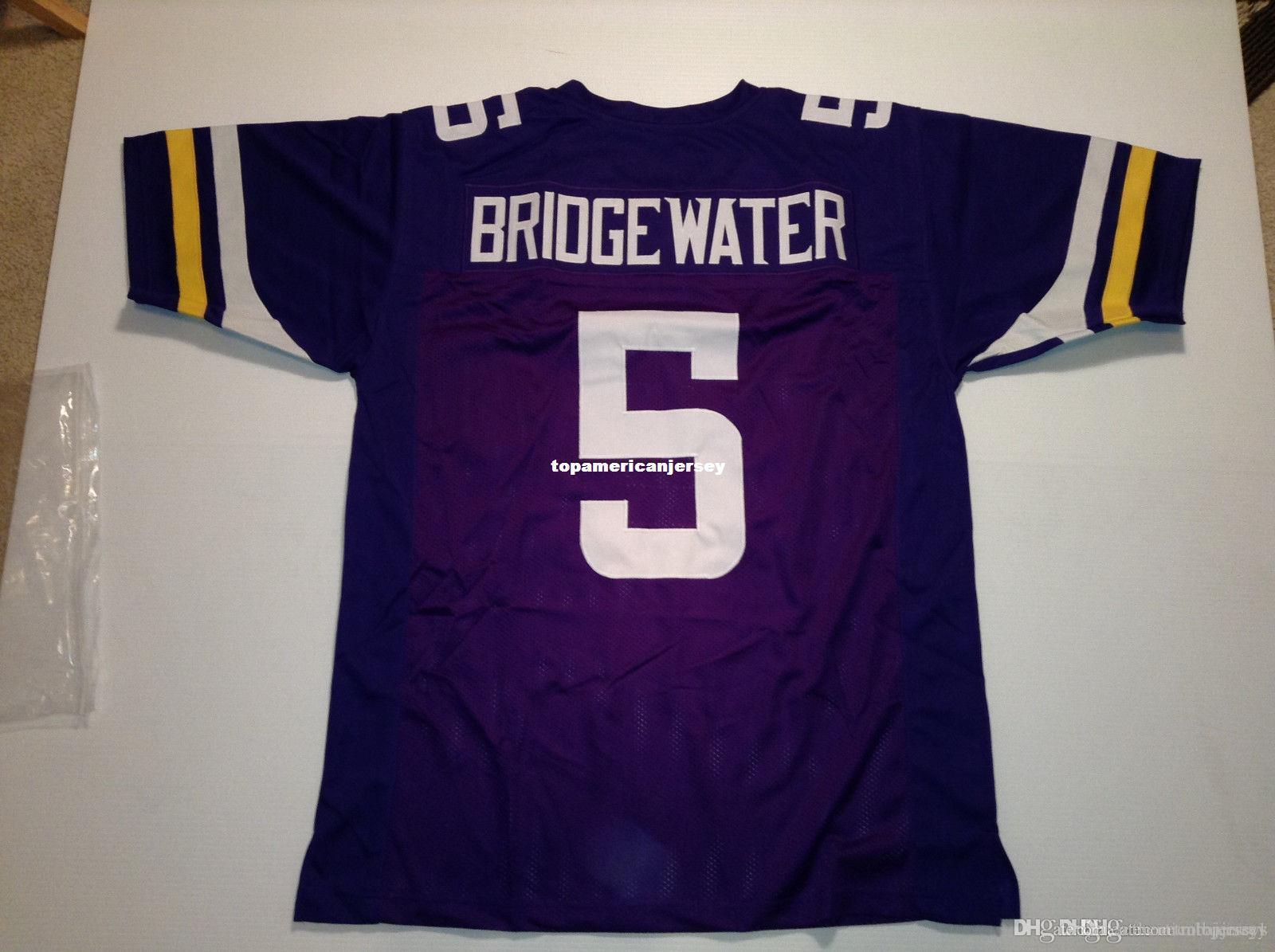 Ucuz Retro özel Dikişli 5. Teddy Bridewater Mor MITCHELL NESS Jersey Üst S-5XL, 6XL Erkek Futbol Formalar Rugby dikili