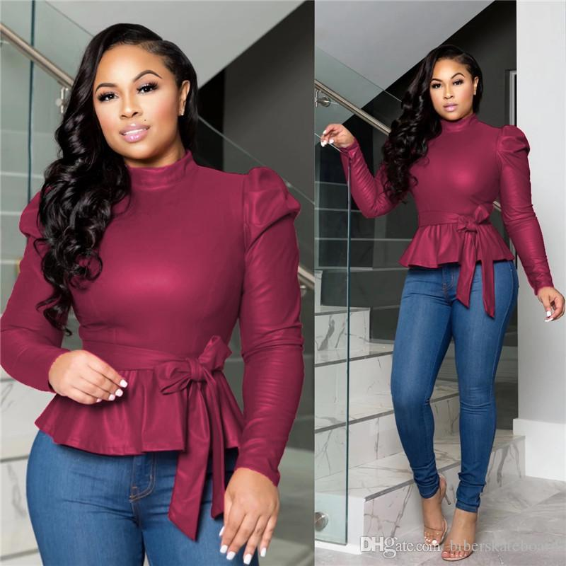 Dropshipping Kadın Tasarımcı Tişört Kayışlı Moda Uzun Kollu Casual Giyim Bayan Kısa Katı Renkler tişörtleri