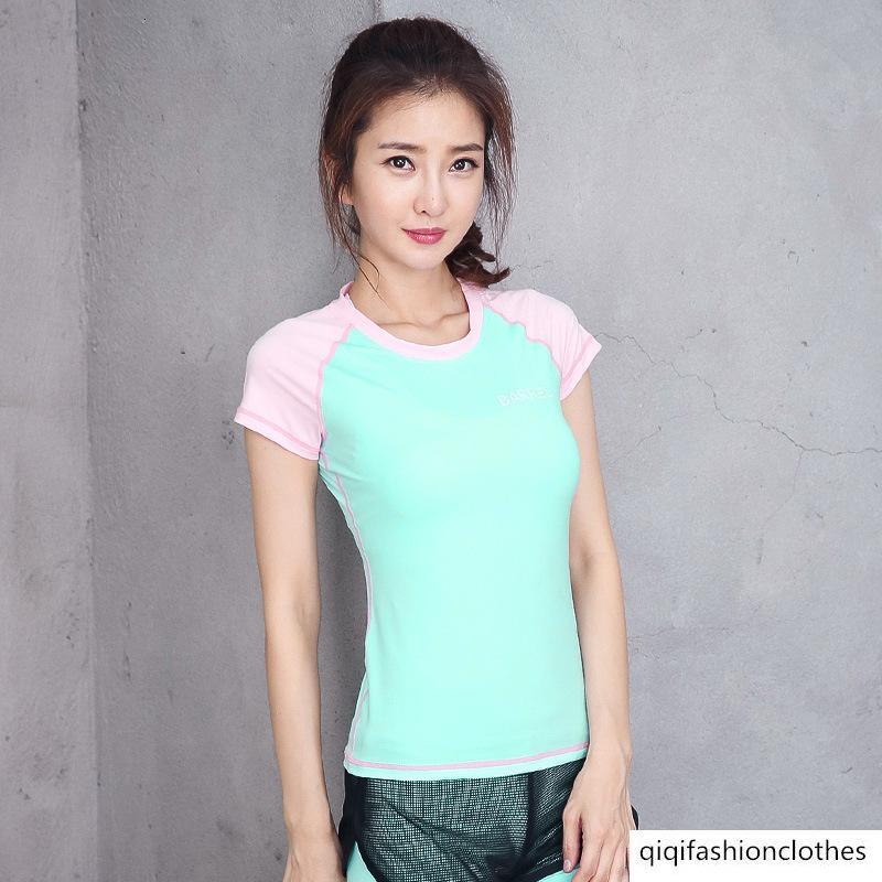 Vêtements de Yoga Femme à manches courtes T-shirt sport vitesse sec fitness Vêtements Courir Fitness Vitesse sec