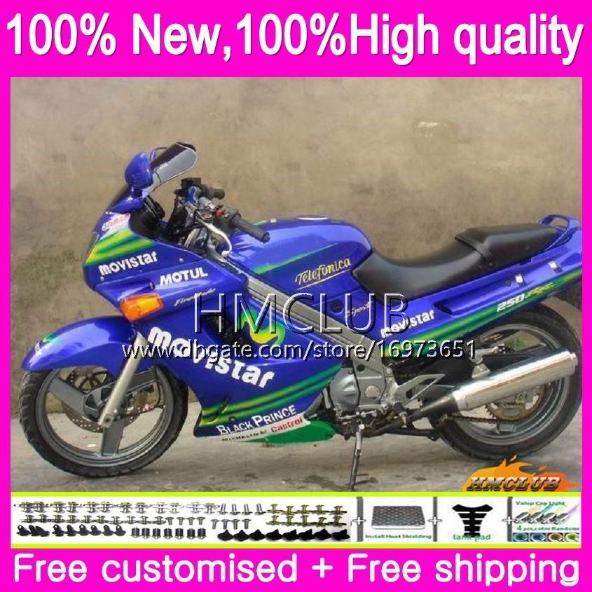 Carroçaria Para KAWASAKI ZZR250R ZZR250 90 95 96 97 98 99 75HM.20 Movistar azul ZZR 250 ZZR250 1990 1991 1996 1997 1998 1999 completa carenagens kit