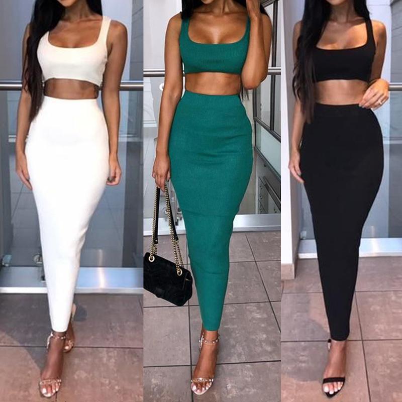 2Pcs Set Women Crop Tops And Skirt Set Matching Women Two Pieces Sexy Sleeveless Short Tops+Bodycon Slim Long Skirt Sets