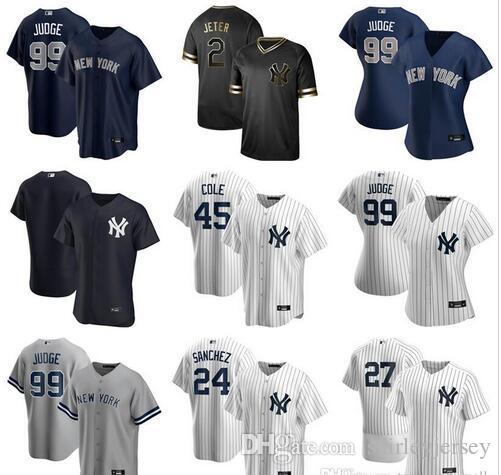 2020 Baseball 45 Gerrit Cole Jersey 2 Derek Jeter Gary Sanchez DJ LeMahieu Aaron Juiz Gleyber Torres Giancarlo Stanton Homens Crianças Mulheres Branco