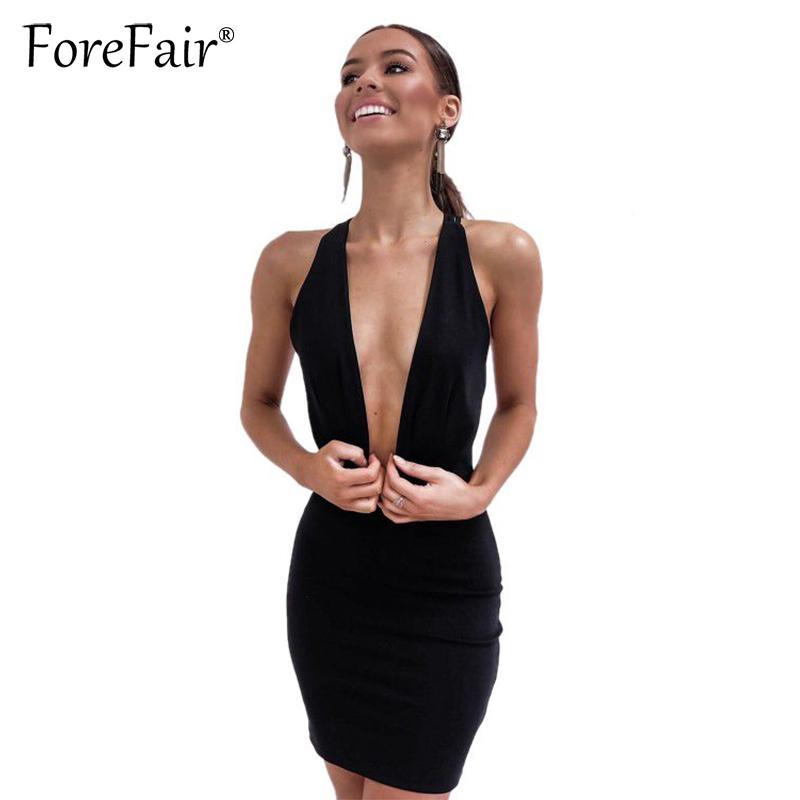 Forefair 2020 Yaz Yeni Kadınlar İnce Kulübü Elbise Siyah Seksi Derin V Yaka Backless Bandaj BODYCON Parti Halter Mini Elbise