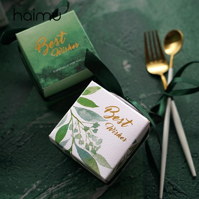 10PCS 신선한 작은 사각형 가방 소박한 결혼식 호의 가방 초콜릿 사탕 가방 발렌타인 데이 선물 사탕 DIY의 박스 파티 용품