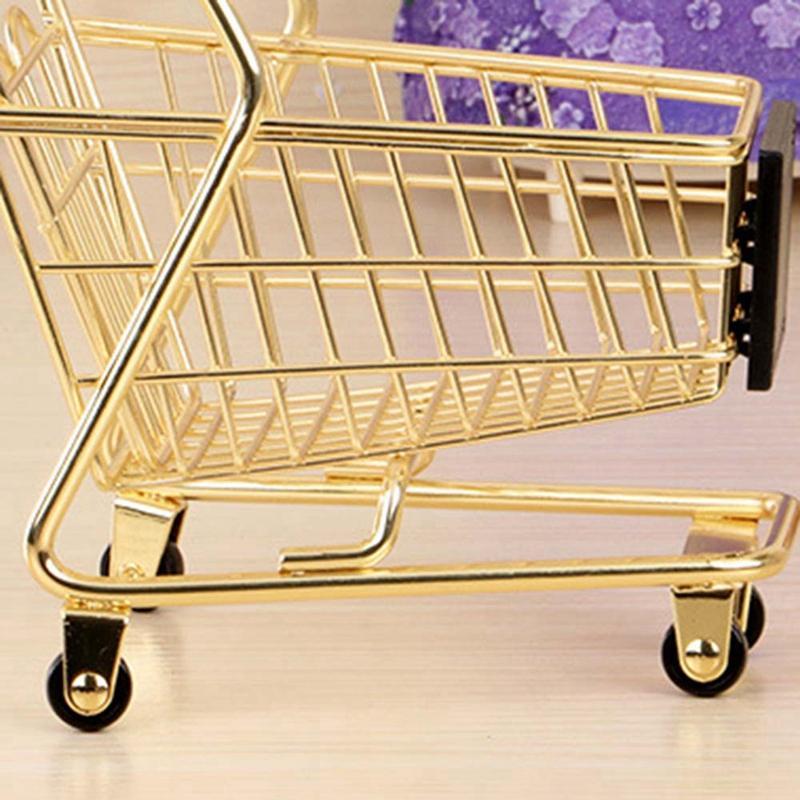 Mini Double Layers Shopping Cart Model Wrought Iron Supermarket Trolley Metal Rose Gold Storage Basket