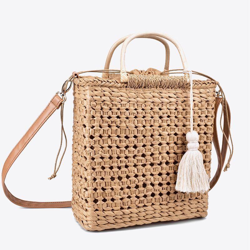 2 Color Hollow Fringed Woven Straw Bag Wooden Handle Natural Color Shopping Bag Woman Fashion Tassel Messenger Bag Handbag J190611