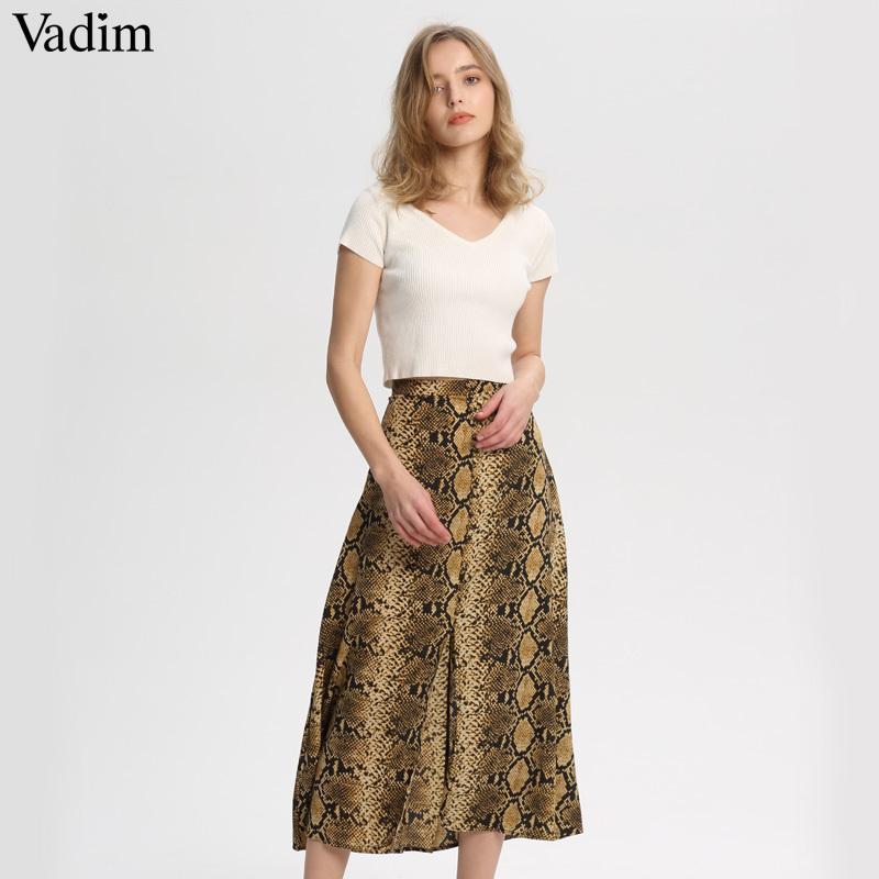 Vadim Femmes Élégant Serpent Imprimé Midi Jupe Faldas Mujer Côté Zipper Conception Femelle Casual Streetwear Jupes Chic Ba157 SH19062702