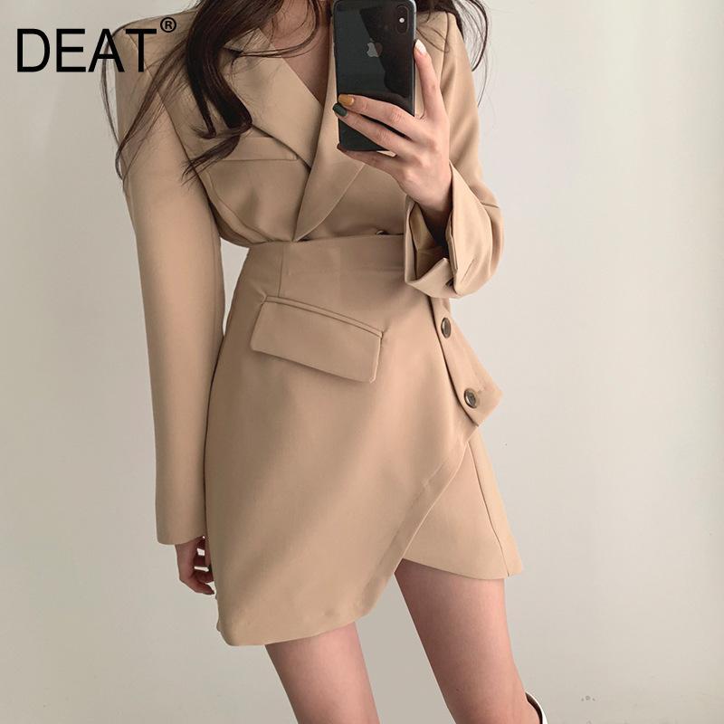 [DEAT] Pulsante donne due parti Temperamento laterale abito nuovo risvolto collo maniche lunghe Loose Fit Moda primavera-estate 2020 13S118