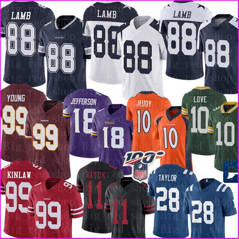 2020 DallasCowboy 88 CeeDee Lamb Jersey 99 Chase Junge 18 Justin Jefferson 99 Javon Kinlaw 10 Jerry Jeudy 28 Jonathan Taylor Aiyuk