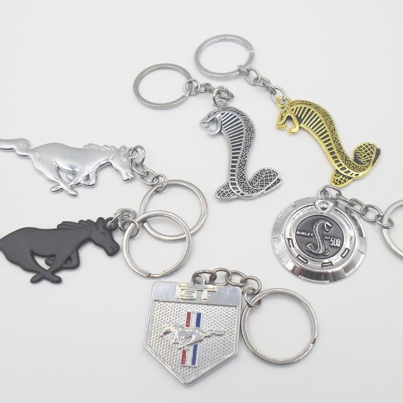 자동차 스타일링 포드 머스탱 포니 말 쉘비 GT500 코브라 뱀 배지 엠블럼 열쇠 고리 키 체인 열쇠 고리 체인