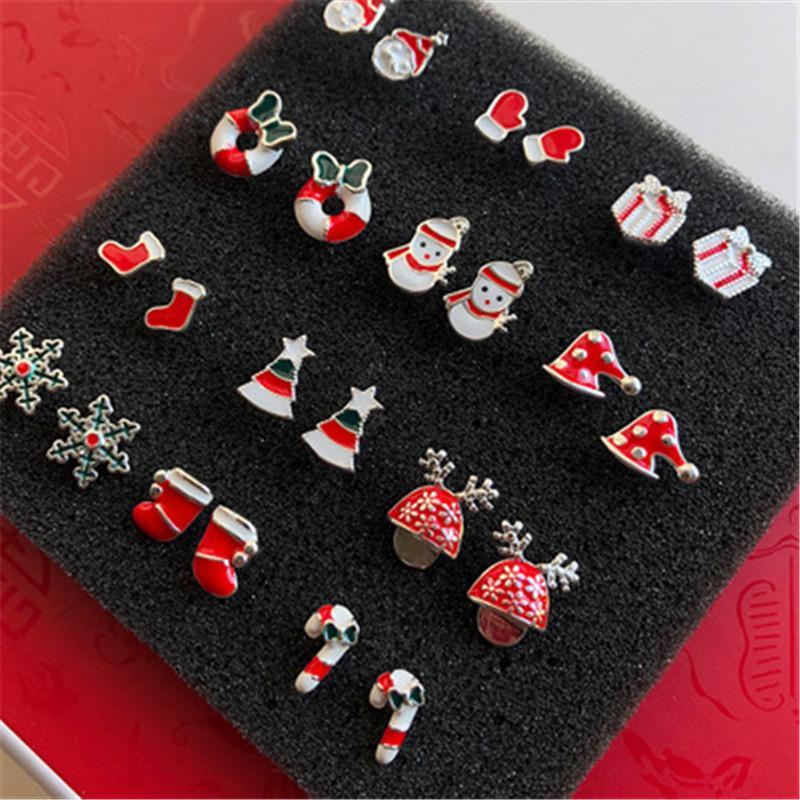2020 joyería de moda pendientes de Navidad dulce de caramelo Muñeco de nieve rojo pendientes de caja de regalo de mini S925 pendientes lindo aguja de plata F0071