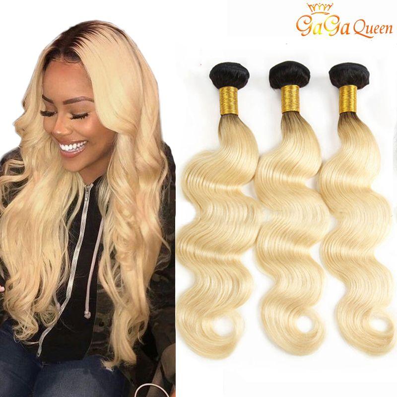 Two Tone Ombre brasiliana dei capelli 1B / 613 capelli gagaqueen Biondi dell'onda del corpo di capelli umani Weave Bundles