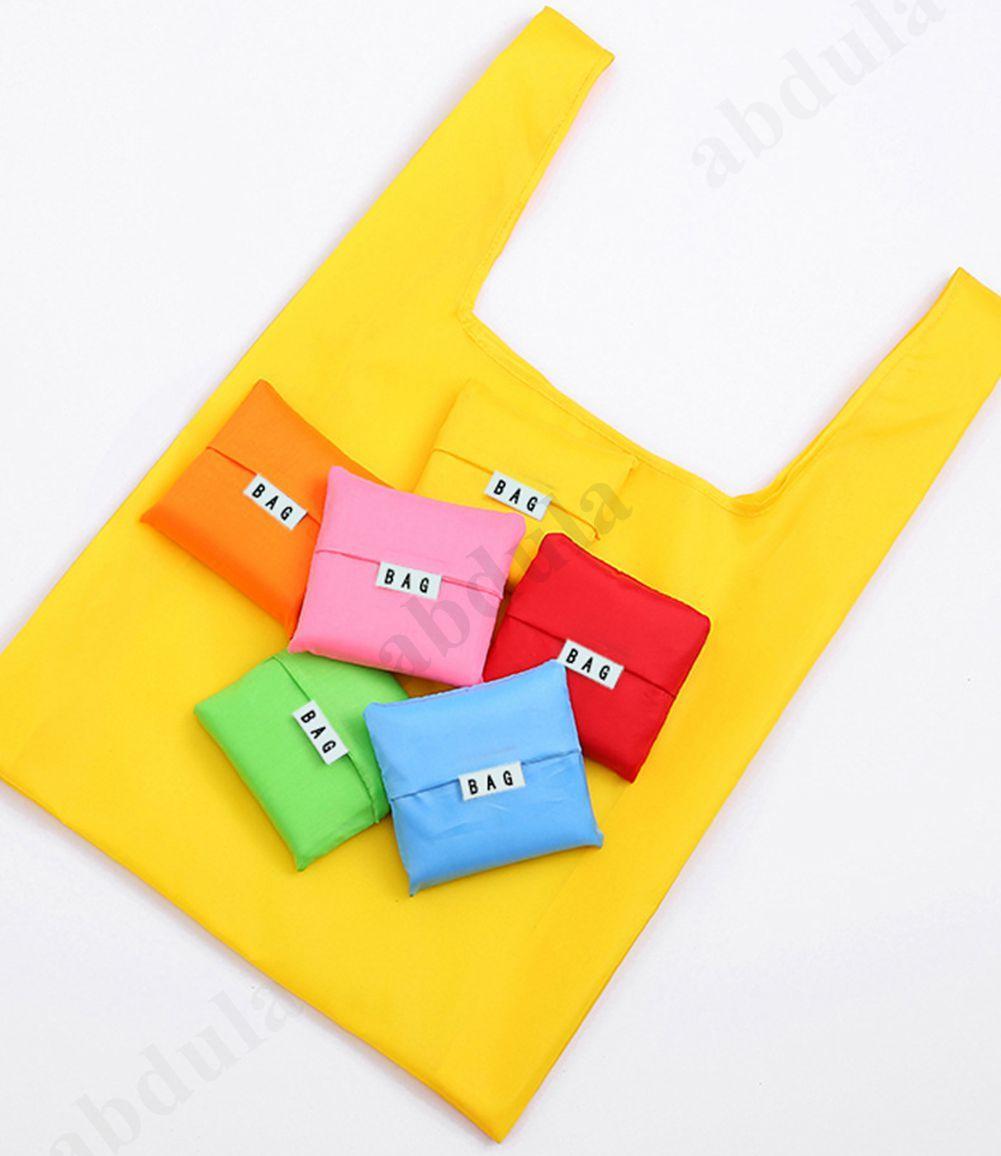 Sacs à provisions réutilisables ECO pliable couleur libre de grande taille réutilisable Shopping Sac à main Sac à main Pure Épicerie Nylon sac de nylon sacs portables US Jrlx