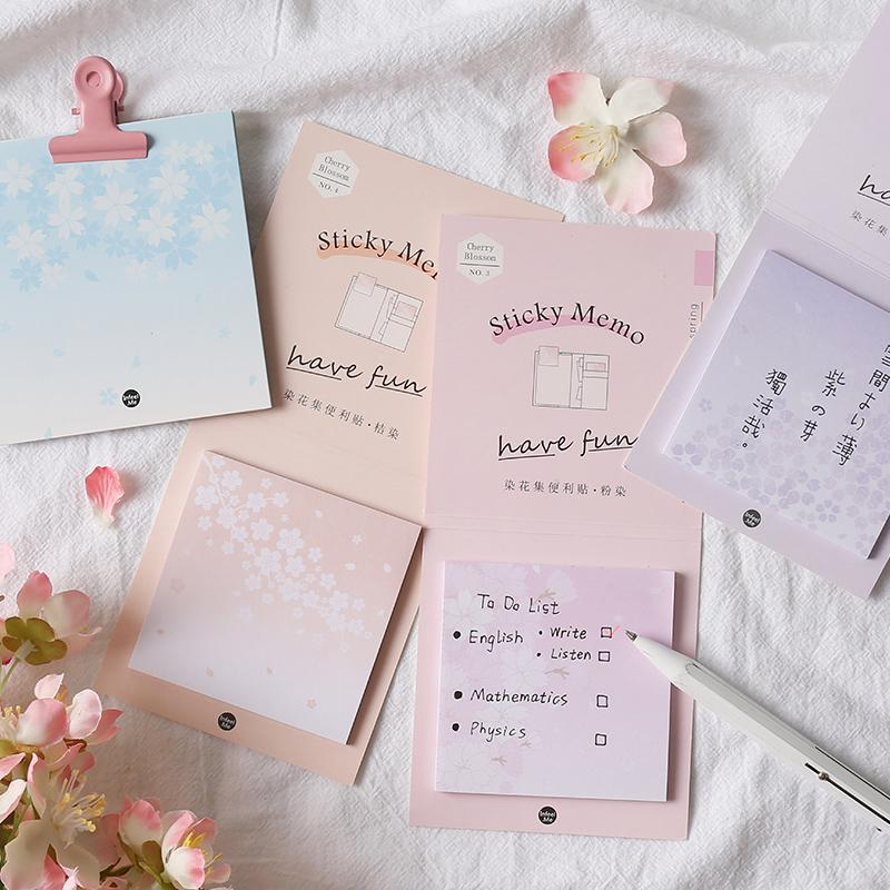 Notas 12 unids / lote Dyeing Flower Set Series Sticky N Times Pegatinas Memo Pad