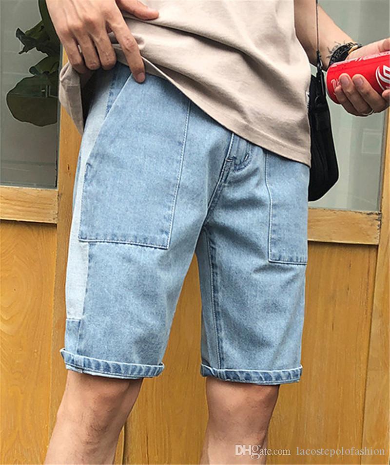Plus tamaño para hombre pantalones cortos sueltos diseñador corto para hombre Jeans Casual mediados de cintura hasta la rodilla pantalones masculinos