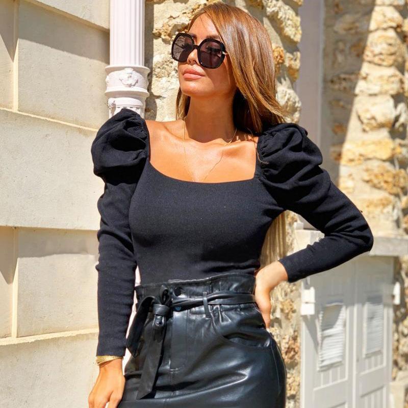 가을 신상품 광장 칼라 짧은 T 셔츠 암나사 레트로 퍼프 슬리브 T 셔츠 슬림 피트니스 섹시한 톱 티 3Color