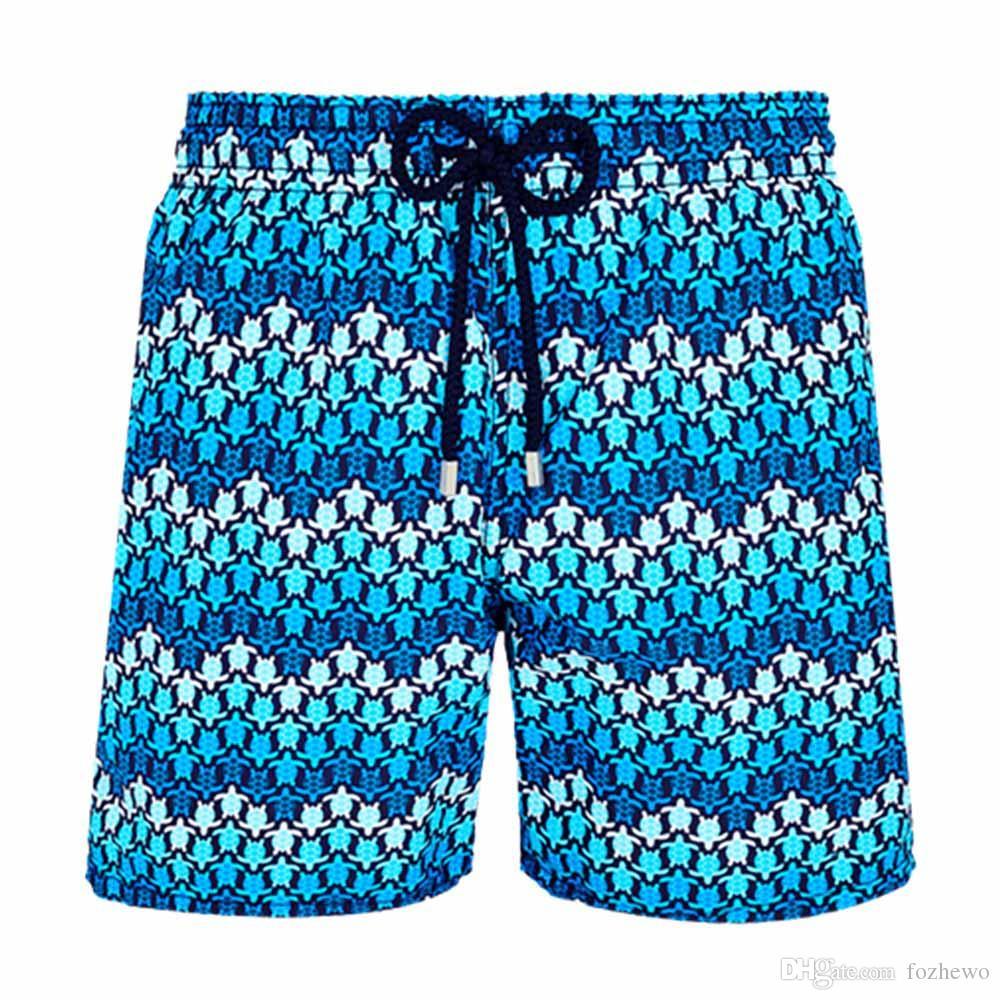 Vilebre Brand Board Shorts Men Bermuda Vilebre Turtle Printing Man Boardshort 100% Quick Dry Men's Swimwear V070237