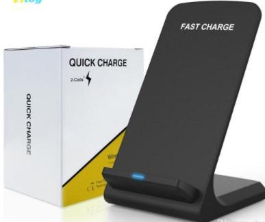 NEW 2 Катушки Беспроводное Зарядное Устройство Ци Быстрое Беспроводное Зарядное Устройство Стенд Pad для iPhone X 8 8Plus Samsung Xiaomi