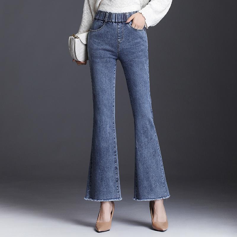 Jeans de mujer moda mujer estilo otoño edición coreana cintura elástica alto cintura de cintura de moda Pantalones casuales de moda