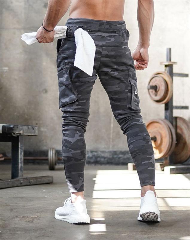 Мужские Jogger Pnats Sweatpants Человек Спортзалы тренировки Фитнес Хлопок Брюки Мужские спортивные Идущие Тощий Тренировочные штаны молния дизайн брюки