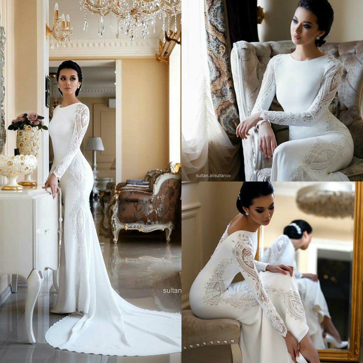 2019 Modest Mermaid Wedding Dresses Lace Appliqued frisada Berta Trem da varredura Boho do vestido de casamento vestidos de noiva Plus Size mangas ABITI da sposa