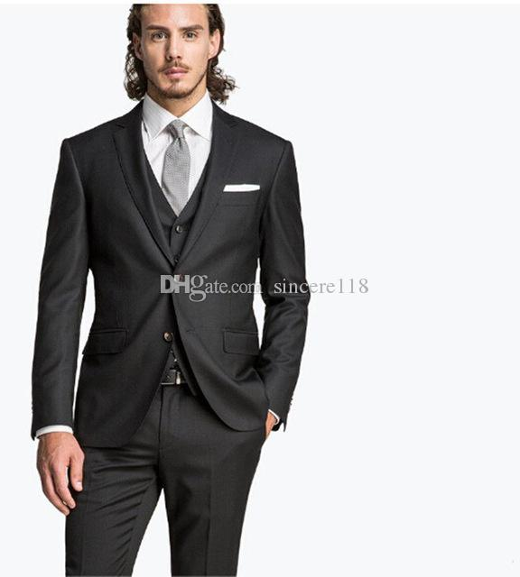Hot Sell Slim Fits Groom Tuxedos Notch Lapel Mens Coat Prom Blazers Business Suits (Jacket+Pants+Vest+Tie) W:041