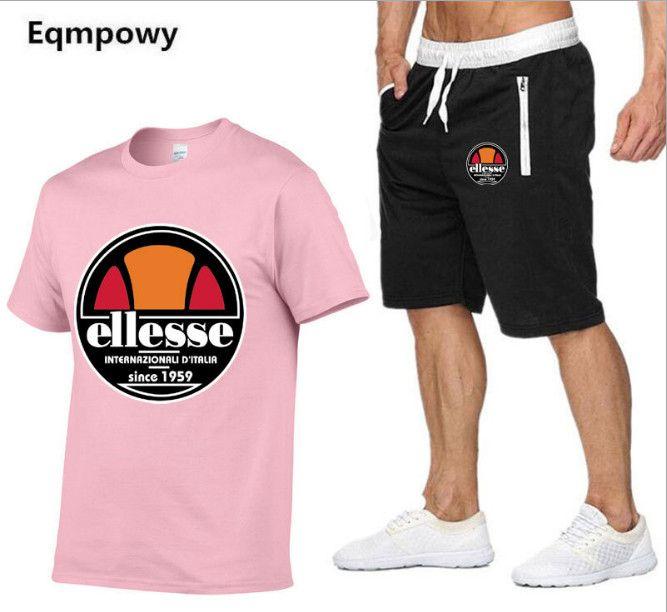 Marka Erkek T Shirt + Şort Set Yaz Kısa Kollu Eşofman Spor Salonları Rahat Erkek T Gömlek 2 Parça Marka giyim
