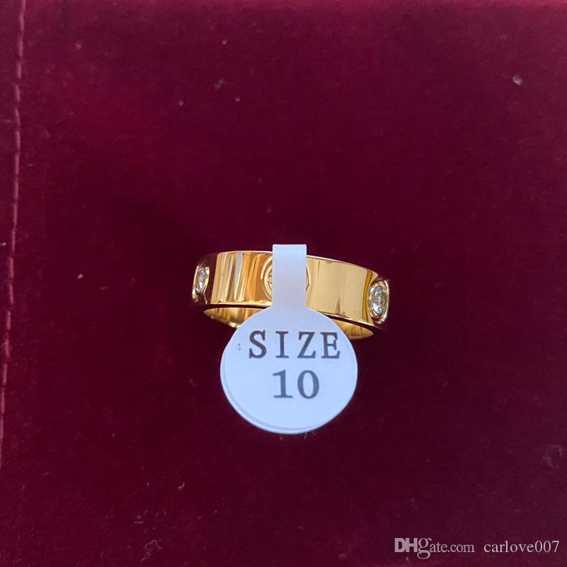 6 mm de largura venda Hot inoxidável Rosa de Ouro Amor Anel Mulher Para Aço jóias anéis homens do casamento Promise Rings por Mulher Mulheres Engagement presente