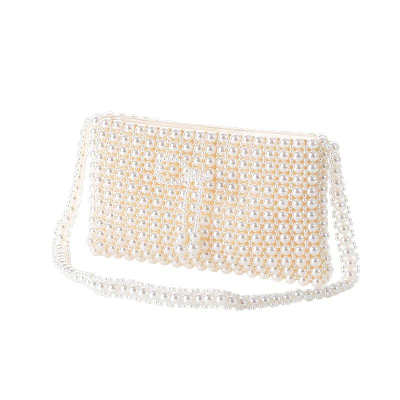The Hand made Pearl Clutch bags Women Purse Diamond Chain white Evening Bags for Party Wedding black Bolsa Feminina