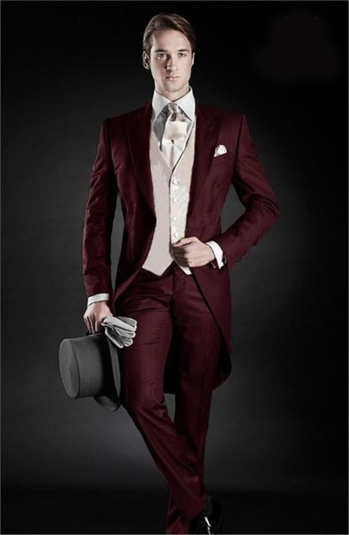 2019 Morning Style Groom Tuxedos Lapel Men's Suit Burgundy Groomsman/Best Man Wedding/Dinner Suits(Jacket+Pants+vest+tie)