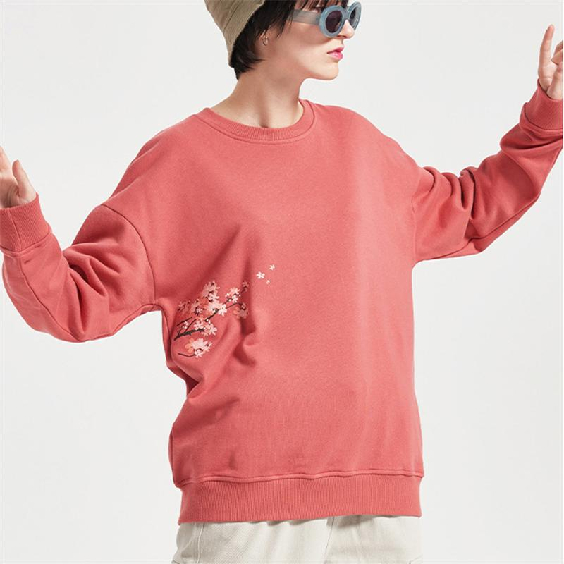 New Street Style Мужские Женские свитера конструктора Марка Цветочные Sakura печати O-образным вырезом Пуловер Sweatershirts верхнего качества Бесплатная доставка B101788V