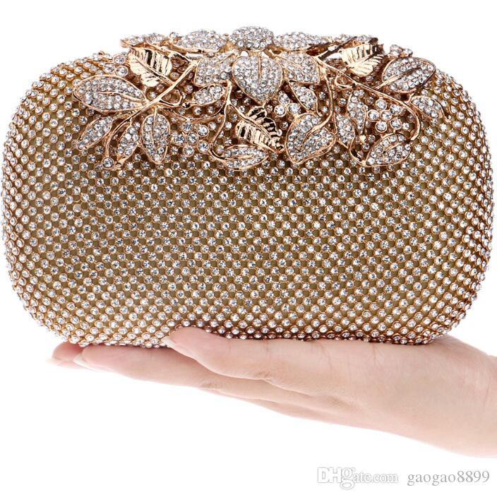2019 New Gold Rhinestones Bridal Hand Bags Exquisite Clutches Crossbody Evening Bags Sparkly Crystal Pearls Chain Party Wristlets
