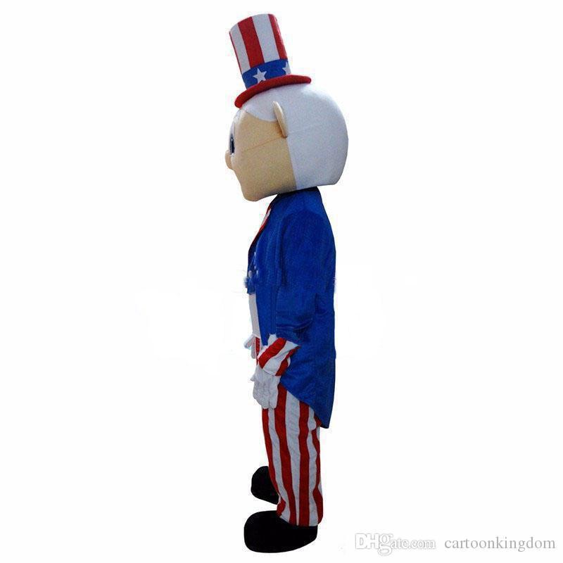 2019 Fabrika doğrudan satış Yetişkin Boyut Amerikan Old Man Sihirbaz Maskot Kostüm Ücretsiz Kargo