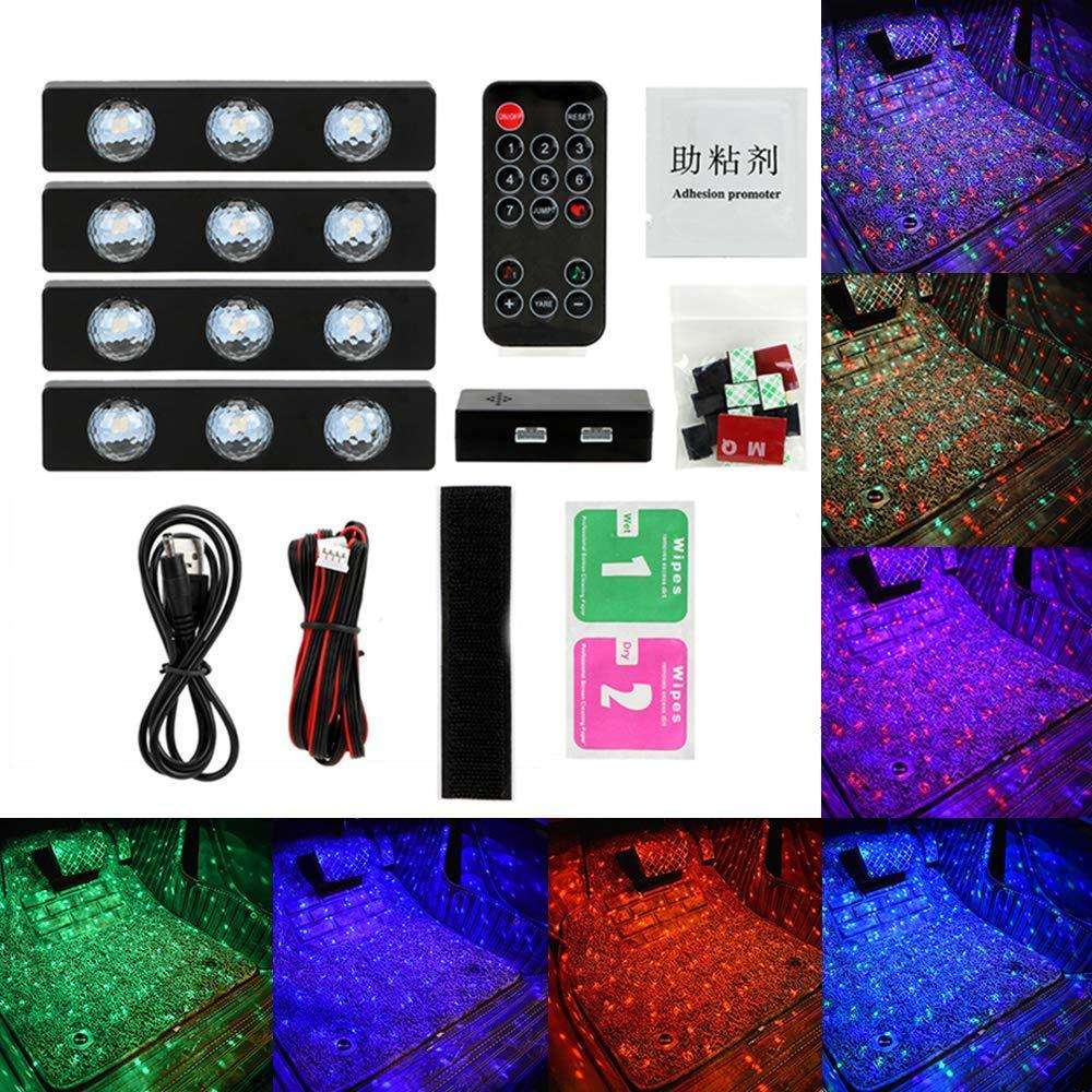 4 Pcs 12 LED Multi-Color Music Star Sky Pattern - Indoor Decor Atmosphere Lamp, Sound Active Function and Wireless Remote Control USB Plug