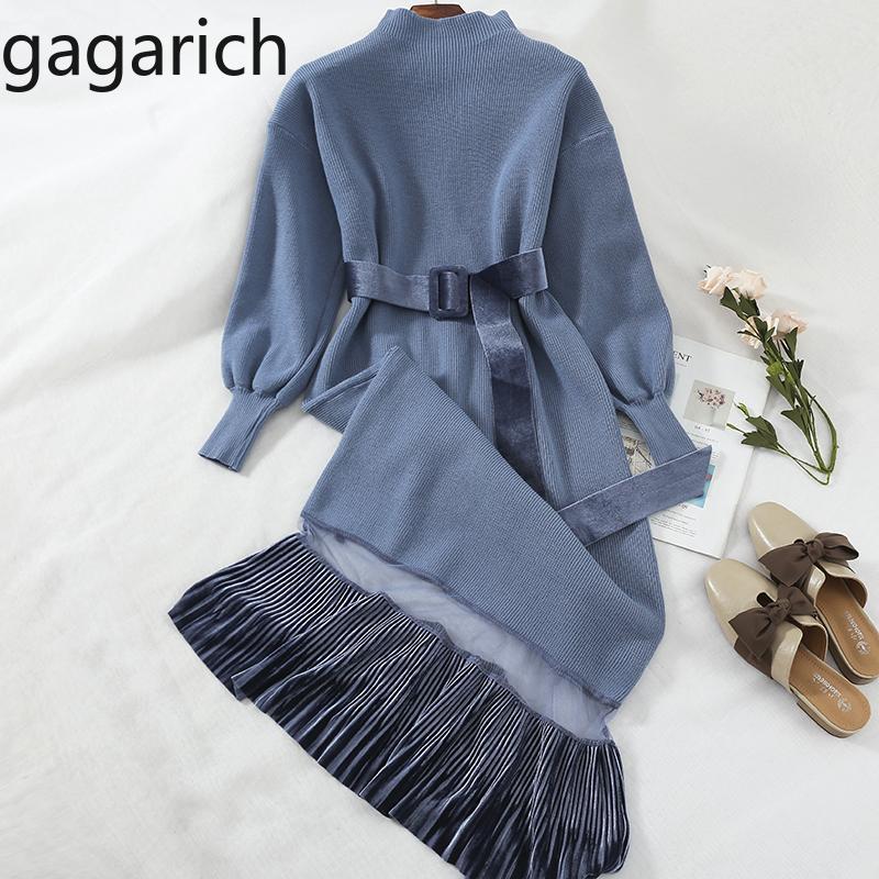 Gagarich 2020 Art und Weise lange Pullover Kleid Frauen Langarm-Damen Kleider Gurt-Taillen-Fest Herbst-Winter-beiläufiges elegantes Kleid