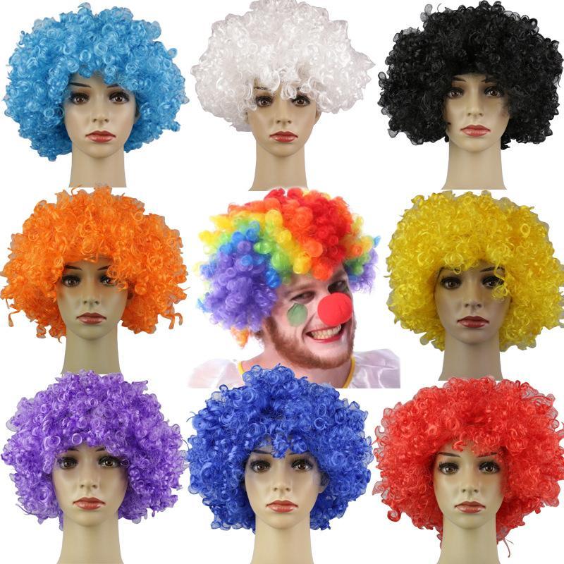 10шт Короткие вьющиеся Пушистый косплей платье партии производительности Реквизит смешной парик клоуна Caps Birthday Party Decoration Взрывной парик головки