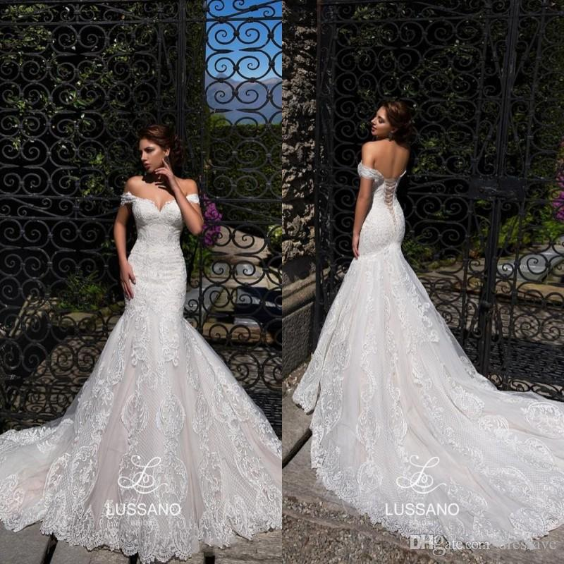 OFF 숄더 코르셋 인어 웨딩 드레스 2019 전체 레이스 아첨하는 아플리케이션 코르셋 백 브라 가운 비치 웨딩 드레스