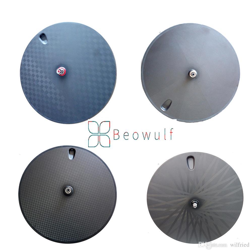 Beowulf 700C fibra de carbono súper ligera Disco de rueda tubular tubular para bicicleta de pista bicicleta de carretera Triatlón Time Bike Disco de engranaje fijo llantas de carbono