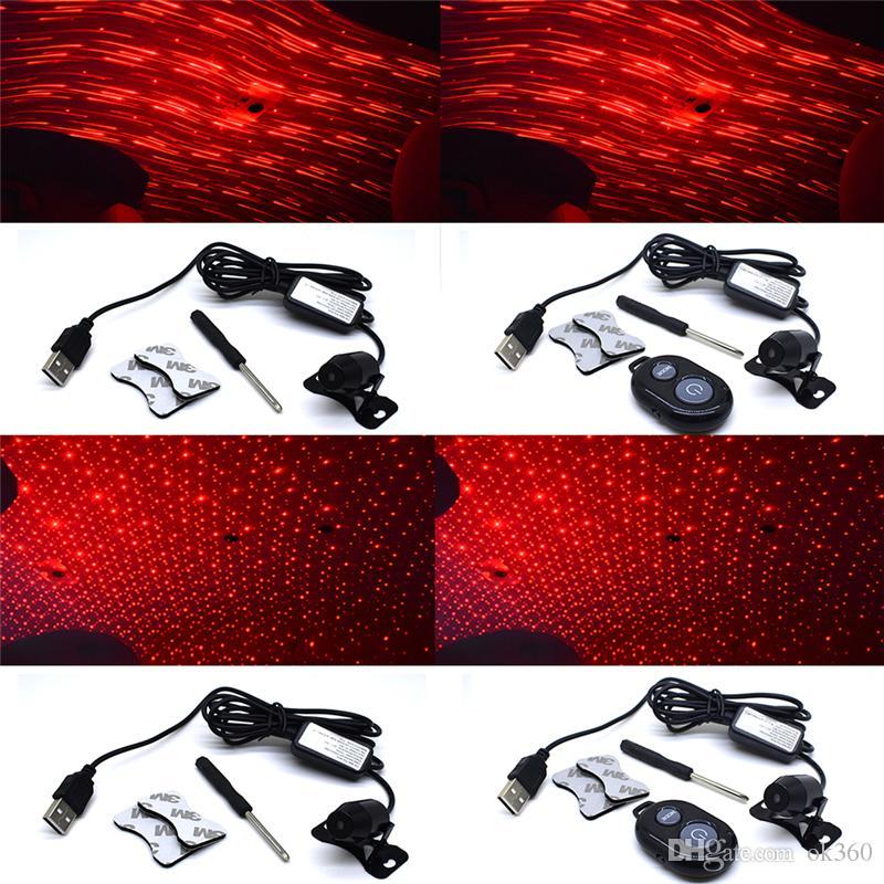 Luz do projetor de carro decoração luz usb led céu estrelado estrela dj rgb projetor de laser de som de controle remoto para auto car styling