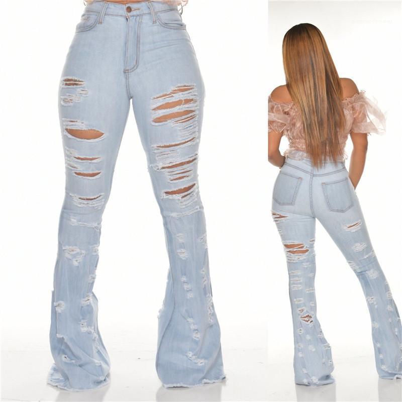 Azul flacos de las adelgazan los mediados de cintura de los pantalones vaqueros de las mujeres de la borla de la llamarada Ripped Jeans Moda lavada Luz