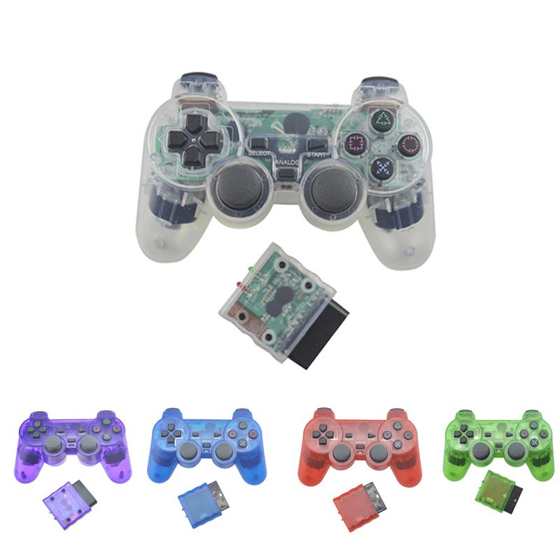 EastVita Transparente Farbe Wireless Gamepad für Sony PS2 2.4G Vibration Joystick Blutooth Controller für Playstation 2 Joypad